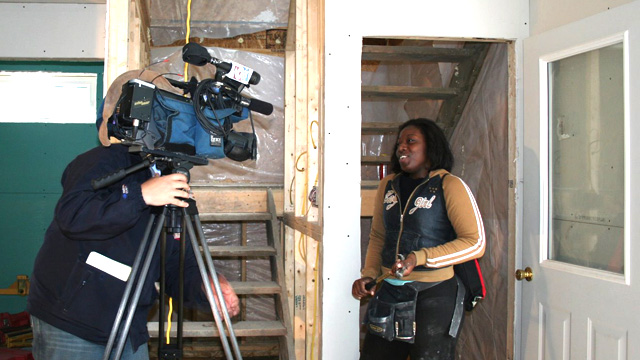 RPI student interviewed at Architecture For Humanity worksite.