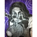 "Taylor Carlin. ""Childhood Dreams"". Medium: charcoal, chalk. Dimensions: 24"" x 18"""