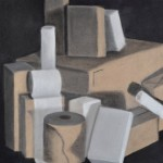 "Jenna Kulek. ""Boxes"". Medium: charcoal. Dimensions: 16"" x 16""."
