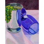 "Jenna Kulek. ""Cups and Grapes"". Medium: colored pencil. Dimensions: 6"" x 8"""