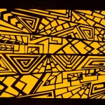 "Elizabeth Lee. ""Dance Backdrop Design"". Medium: Cut Black Paper on Yellow Ground. Dimensions: 8.5"" x 11"""