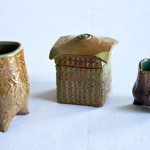 "August Rulewich. Medium: ceramics. Dimensions: 3 1/4"" x 4 3/4"" x 3 1/4""; 3"" x 4 1/4"" x 3""; 2 1/2"" x 3"" x 2 1/2"""
