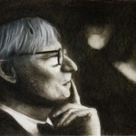 "August Rulewich. Medium: charcoal. Dim: 23 5/8"" x 16 7/8"""